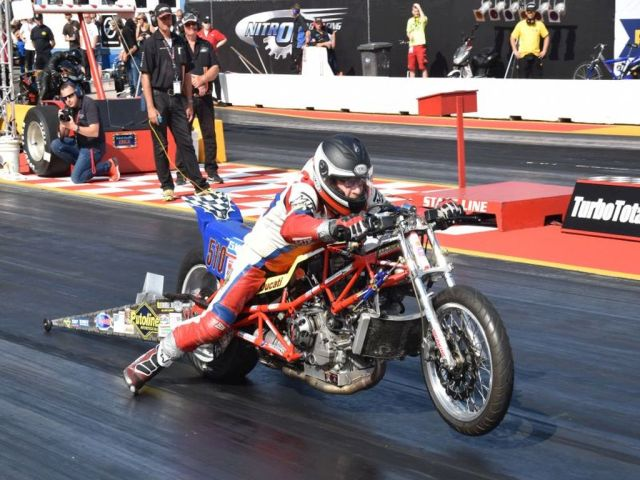 17-19 aug 2018 Notrolympix Hockenheim Germany 6th European Super Twin Top Gas round Herman Jolink Qualiefied on the 8th Place with 8.723 sec with 246 kmh saterday morning a 8.801 sec with 255 kmh from 16 riders Sunday Eleminations 1/8 final Buehler winnig from Jolink with 0.0246 sec Jolink have a ferry good reaction at the start 0.018 seconds Top Gas Championship Jolink at the 5th Place with 1110 points