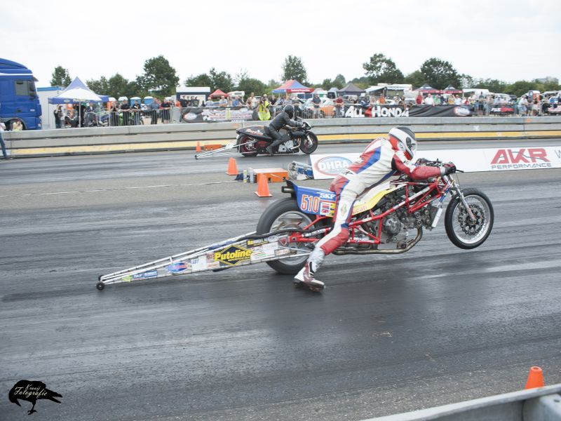 27-29 july 208 4th European Super twin Top Gas round Drachten NL Herman Jolink Qualified on the 6th Place with 8.632 sec with 245 kmh from 12 riders Eleminations 1/4 Finale Jolink 8.556 sec with 252 kmh defete Malmberg 1/2 Final Jolink bye run Final 1st Place Jorg Lymant D 8.368 sec with 228 kmh 2nd Herman Jolink NL 8.789 sec 225 kmh closing the throtlle before the finisch