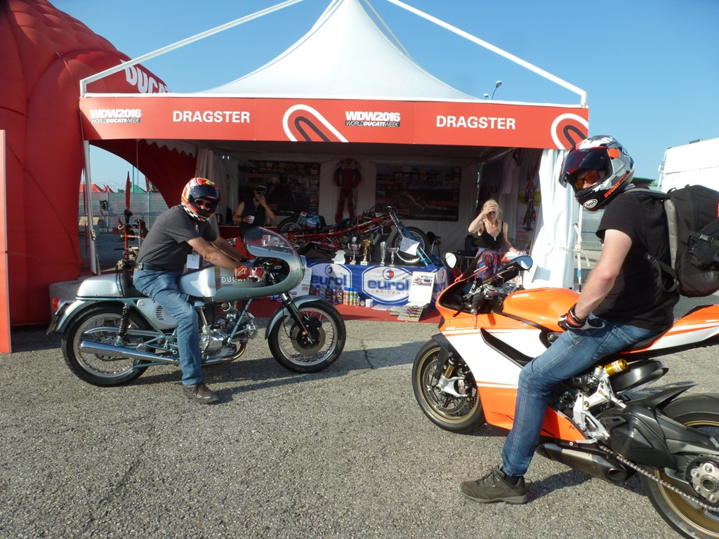 World Ducati Week 1-2-3 july 2016 Misano Italy, left Gerard van Maasdijk on his Ducati 750 SS Round Case Green frame made nicer then the 750 SS cam e out of the Factory by van Maasdijk ( engine by Herman Jolink) left Randy van Maasdijk on the Ducati Panigale Leggare Super Bike Replica, background Ducati 1198 RS (1266) Drag Bike