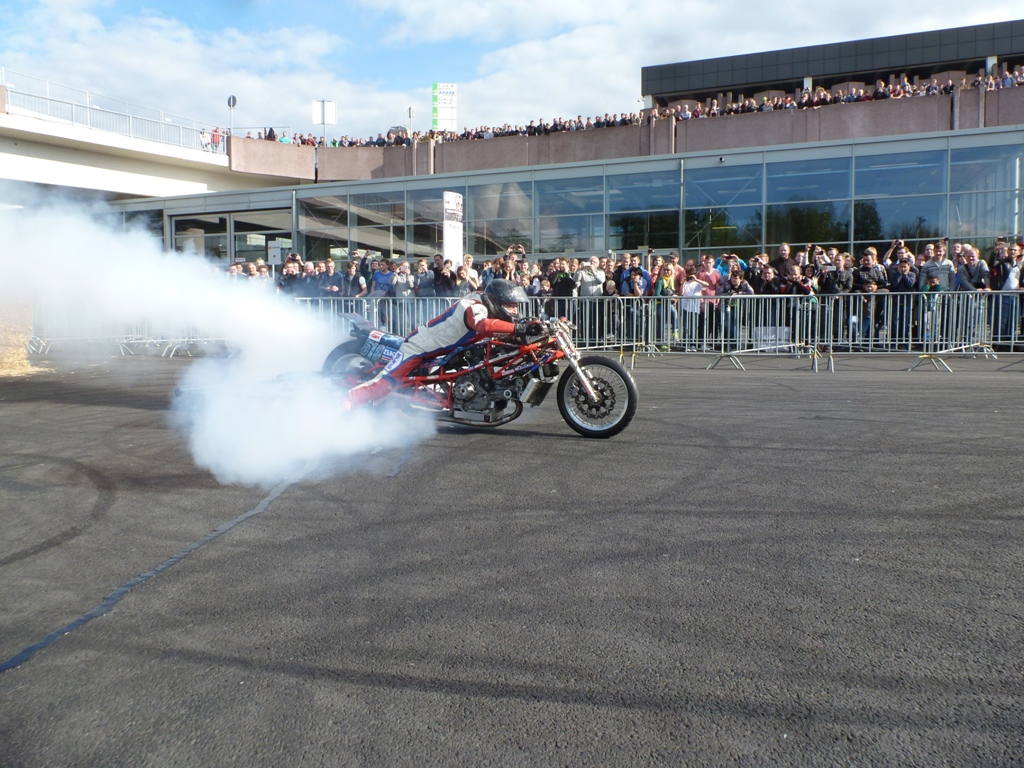 4-9 october 2016 INTERMOT KOELN GERMANY we did a Rolling Burn Out with the Ducati 1198 RS Drag Bike  first a INTERVIEW with Herman Jolink, thursday saterday end sunday always allot Visitors they like the smoke and the sound from the Ducatiu m1198 RS Drag Bike COPYRIGHT HERMAN JOLINK