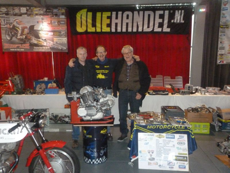13-14 january 2018 Oldtimer Motorcycle Exhebition Rosmalen Netherlands. left Roman Fokken Ducati 1 cylinder road and race riderMidlle Herman Jolink right Peter Horst Indina rider and friend from Hennie Kroeze Idian rider in his Wall of Death togheter with his daughter