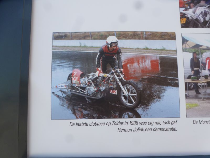 Photo Exposition at the Ducati Club Race at Assen Netherlands 25-27 may 2018, Herman Jolink with his Ducati Bevel Drag Bike did a Show run in the rain, at the Ducati Club Race at Zolder Belgium sep 1986
