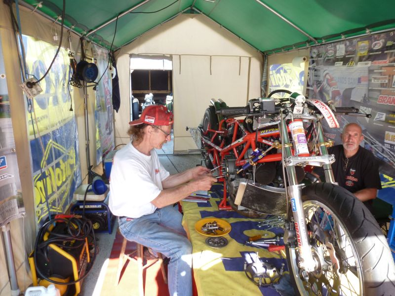 17-19 aug 2018 Hockenheim Germany Team Tent left Herman Jolink working at the clutch from the Ducati Drag Bike right crew Chief Urs Brander Swiss